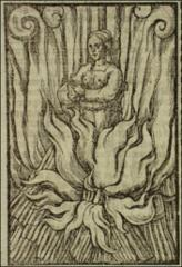 Thumbnail of A young female martyr standing among flames.