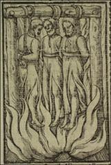Thumbnail of Three martyrs hanging from gallows above flames.