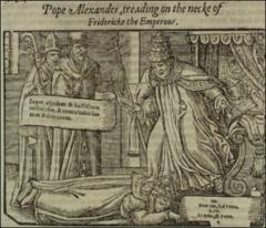 "Thumbnail of Pope Alexander III humiliating Emperor Frederick I (""""Barbarossa"""") in 1160"