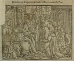 Thumbnail of Emperor Henry IV surrendering his crown to the pope
