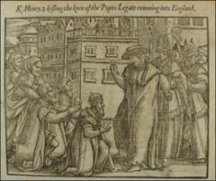 "Thumbnail of King Henry III kneeling, about to kiss the knee of the papal legate.\Cuts 24 to 34. The series, printed as an Appendix to Volume I, illustrate """"The proud primacie of Popes.""""\TRI"