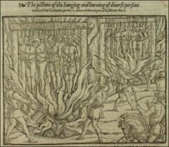 Thumbnail of The burning and hanging of two sets of martyrs counted as Lollards.