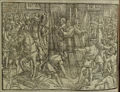 "Thumbnail of The 1541 burning of Robert Barnes, Thomas Garrett, and William Jerome at Smithfield. Does Guide misread as """"two Protestant and one ?Catholic"""""