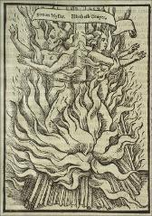 "Thumbnail of Two martyrs (Simon Myller.  Elizabeth Cooper."""" in a scroll) chained back to back to one stake, standing enveloped in flames."""""