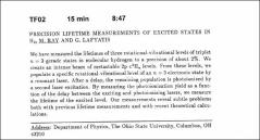 Thumbnail of PRECISION LIFETIME MEASUREMENTS OF EXCITED STATES IN $H_{2}$