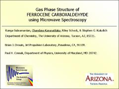 Thumbnail of GAS PHASE STRUCTURE DETERMINATION OF FERROCENE CARBOXALDEHYDE USING FOURIER TRANSFORM MICROWAVE SPECTROSCOPY