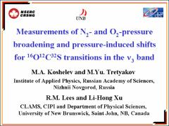 Thumbnail of MEASUREMENTS OF N$_2$- AND O$_2$-PRESSURE-INDUCED BROADENING AND PRESSURE-INDUCED SHIFTS FOR $^{16}$O$^{12}$C$^{32}$S TRANSITIONS IN THE $\nu_3$ BAND