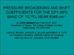 Thumbnail of PRESSURE BROADENING AND SHIFT COEFFICIENTS FOR THE 22$^{0}$1-00$^{0}$0 BAND OF $^{12}$C$^{16}$O$_2$ NEAR 6348 cm$^{-1}$