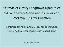 Thumbnail of ULTRAVIOLET CAVITY RINGDOWN SPECTRA OF 2-CYCLOHEXEN-1-ONE AND ITS INVERSION POTENTIAL ENERGY FUNCTION