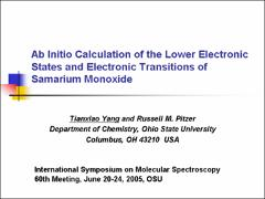 Thumbnail of AB INITIO CALCULATION OF THE ELECTRONIC TRANSITIONS OF SAMARIUM MONOXIDE