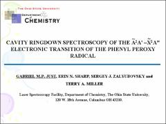 Thumbnail of CAVITY RINGDOWN SPECTROSCOPY OF THE $\widetilde{A}^{2}$A$^{\prime}$ - $\widetilde{X}^{2}$A$^{\prime\prime}$ ELECTRONIC TRANSITION OF THE PHENYL PEROXY RADICAL