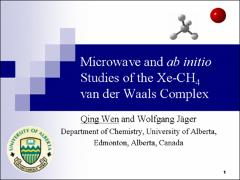 Thumbnail of MICROWAVE AND AB INITIO STUDIES OF THE XE-CH$_{4}$ VAN DER WAALS COMPLEX