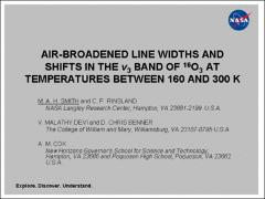 Thumbnail of AIR-BROADENED LINE WIDTHS AND SHIFTS IN THE $\nu_3$ BAND OF $^{16}$O$_3$ AT TEMPERATURES BETWEEN 160 AND 300 K