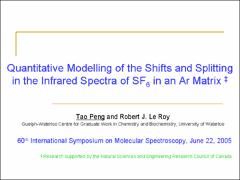 Thumbnail of QUANTITATIVE MODELING OF THE $\nu_3$ INFRARED SPECTRUM OF SF$_6$ IN AN Ar MATRIX