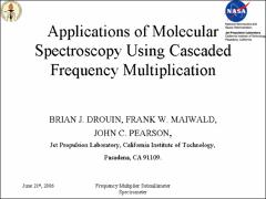 Thumbnail of APPLICATIONS OF MOLECULAR SPECTROSCOPY USING CASCADED FREQUENCY MULTIPLICATION
