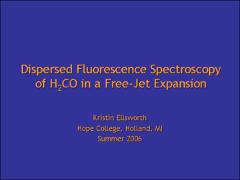 Thumbnail of DISPERSED FLUORESCENCE SPECTROSCOPY OF H$_2$CO IN A FREE-JET EXPANSION