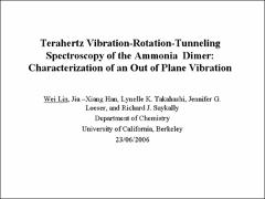 Thumbnail of TERAHERTZ VIBRATION-ROTATION-TUNNELING SPECTROSCOPY OF THE AMMONIA DIMER: CHARACTERIZATION OF AN OUT OF PLANE VIBRATION