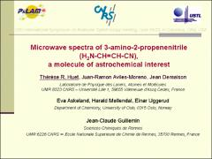Thumbnail of MICROWAVE SPECTRA OF 3-AMINO-2-PROPENENITRILE (H${_2}$N-CH=CH-CN), A MOLECULE OF ASTROCHEMICAL INTEREST