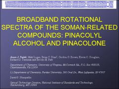 Thumbnail of BROADBAND ROTATIONAL SPECTRA OF THE SOMAN-RELATED COMPOUNDS: PINACOLYL ALCOHOL AND PINACOLONE