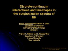Thumbnail of DISCRETE-CONTINUUM INTERACTIONS AND LINESHAPES IN THE AUTOIONIZATION SPECTRA OF BH