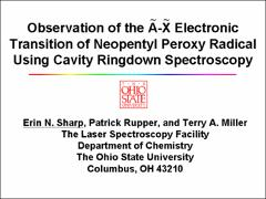 Thumbnail of OBSERVATION OF THE $\tilde{A}-\tilde{X}$ ELECTRONIC TRANSITION OF NEOPENTYL PEROXY RADICAL USING CAVITY RINGDOWN SPECTROSCOPY