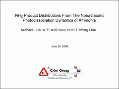 Thumbnail of NH$_2$ PRODUCT DISTRIBUTIONS FROM THE NONADIABATIC PHOTODISSOCIATION DYNAMICS OF AMMONIA