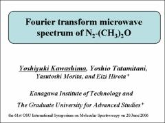 Thumbnail of FOURIER TRANSFORM MICROWAVE SPECTRA OF N$_2$-(CH$_3$)$_2$O