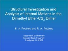 Thumbnail of STRUCTURAL INVESTIGATION AND ANALYSIS OF INTERNAL MOTIONS IN THE DIMETHYL ETHER--CS$_2$ DIMER
