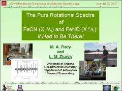 Thumbnail of THE PURE ROTATIONAL SPECTRUM OF FeNC (X $^{6}\Delta_i$): IT HAD TO BE THERE!