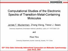 Thumbnail of COMPUTATIONAL STUDIES OF THE ELECTRONIC SPECTRA OF TRANSITION-METAL-CONTAINING MOLECULES