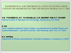 Thumbnail of EXPERIMENTAL AND THEORETICAL STUDY OF WATER-VAPOR CONTINUUM ABSORPTION IN THE THZ REGION FROM 0.3 TO 2.7 THZ