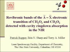 Thumbnail of ROVIBRONIC BANDS OF THE $\tilde{\rm{A}}-\tilde{\rm{X}}$ ELECTRONIC TRANSITION OF CH$_3$O$_2$ AND CD$_3$O$_2$ DETECTED WITH CAVITY RINGDOWN ABSORPTION IN THE NIR