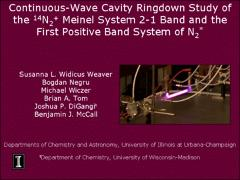 Thumbnail of CONTINUOUS-WAVE CAVITY RINGDOWN STUDY OF THE $^{14}$N$_2^+$ MEINEL SYSTEM 2-1 BAND AND THE FIRST POSITIVE BAND SYSTEM OF N$_2^*$