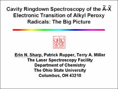 Thumbnail of CAVITY RINGDOWN SPECTROSCOPY OF THE $\tilde{A}-\tilde{X}$ ELECTRONIC TRANSITION OF ALKYL PEROXY RADICALS: THE BIG PICTURE