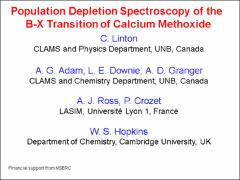 Thumbnail of POPULATION DEPLETION SPECTROSCOPY OF THE B-X TRANSITION OF CALCIUM METHOXIDE