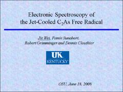 Thumbnail of ELECTRONIC SPECTROSCOPY OF THE JET-COOLED ARSENIC DICARBIDE (C$_2$As) FREE RADICAL