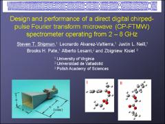 Thumbnail of DESIGN AND PERFORMANCE OF A DIRECT DIGITAL CHIRPED-PULSE FOURIER TRANSFORM MICROWAVE (CP-FTMW) SPECTROMETER OPERATING IN THE 2 - 8 GHZ FREQUENCY RANGE