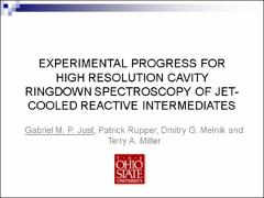 Thumbnail of EXPERIMENTAL PROGRESS FOR HIGH RESOLUTION CAVITY RINGDOWN SPECTROSCOPY OF JET-COOLED REACTIVE INTERMEDIATES