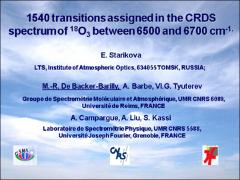 Thumbnail of 1540 TRANSITIONS ASSIGNED IN THE CRDS SPECTRUM OF $^{18}$O$_3$ BETWEEN 6500 AND 6700 cm$^{-1}$