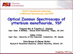 Thumbnail of OPTICAL ZEEMAN SPECTROSCOPY OF YTTERBIUM MONOFLUORIDE; YbF}