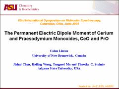 Thumbnail of MEASUREMENT OF THE ELECTRIC DIPOLE MOMENTS OF CERIUM AND PRAESODYMIUM MONOXIDES  }