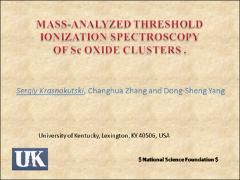 Thumbnail of MASS-ANALYZED THRESHOLD IONIZATION SPECTROSCOPY OF METAL CLUSTERS.