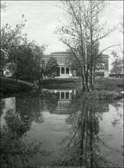 Thumbnail of Campbell Hall, The Ohio State University: Exterior view of east facade across Mirror Lake