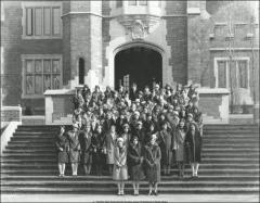 Thumbnail of Pomerene Hall, The Ohio State University: Exterior view with women residents, 1928