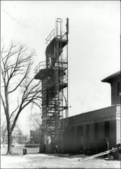 Thumbnail of Lord Hall, The Ohio State University: Exterior view with gas apparatus, 1921
