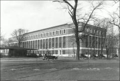 Thumbnail of McPherson Chemical Laboratory, The Ohio State University: Exterior view with Aviation Barracks, 1930