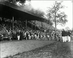 Thumbnail of Ohio Field and Ohio Field Buildings, The Ohio State University: Track event with grandstand and west bleachers, ca. 1914