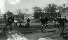 Thumbnail of Ohio Field and Ohio Field Buildings, The Ohio State University: View of football players from field looking northeast toward Woodruff Avenue