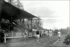 Thumbnail of Ohio Field and Ohio Field Buildings, The Ohio State University: Track event with grandstand and west bleachers, 1917