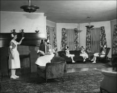 Thumbnail of Oxley Hall, The Ohio State University: Interior view of lounge, 1948
